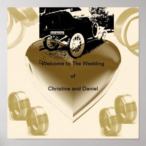 """Vintage Just Married Car""* Poster"
