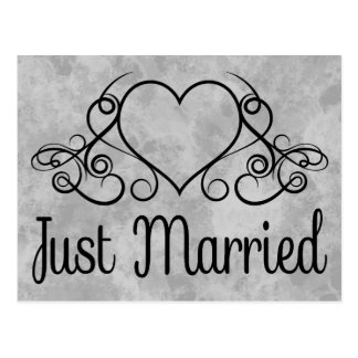 Vintage Just Married Gray And Black Watercolor Postcard