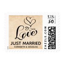 Vintage Just Married Love Hearts Brown  Wedding Postage