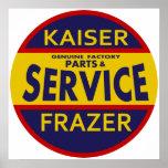 Vintage Kaiser Frazer service sign red/blue