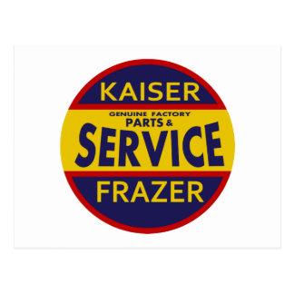 Vintage Kaiser Frazer service sign red/blue Postcard
