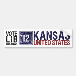 Vintage Kansas del libertario del voto en 2012 - Etiqueta De Parachoque