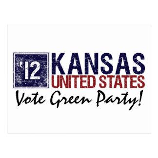 Vintage Kansas del Partido Verde del voto en 2012 Tarjetas Postales
