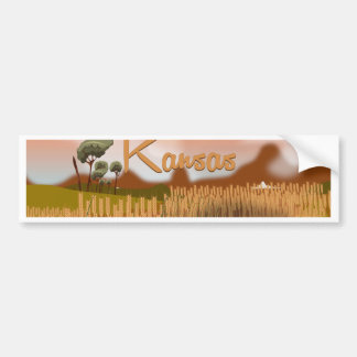Vintage Kansas Wheat field Travel Poster Bumper Sticker