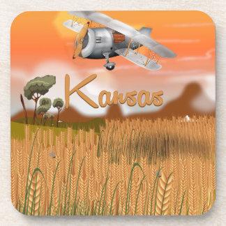Vintage Kansas Wheat field Travel Poster Drink Coaster