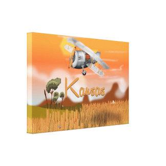 """Vintage Kansas Wheat field Travel Poster"" ""kansas Canvas Print"