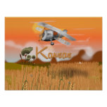 """Vintage Kansas Wheat field Travel Poster"" ""kansas Poster"