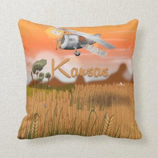 """""""Vintage Kansas Wheat field Travel Poster"""" """"kansas Throw Pillow"""
