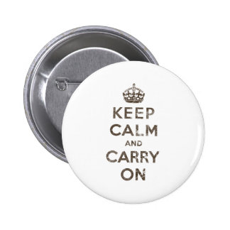 Vintage Keep Calm And Carry On 2 Inch Round Button