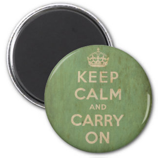 Vintage Keep Calm And Carry On 2 Inch Round Magnet
