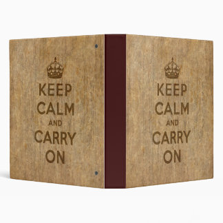 Vintage Keep Calm And Carry On Binder