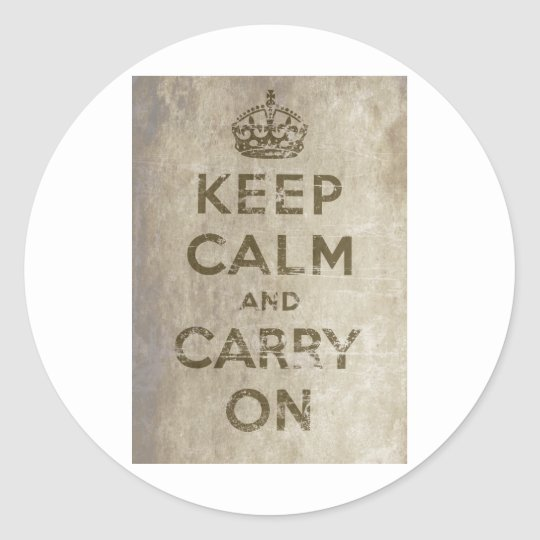 Vintage Keep Calm And Carry On Classic Round Sticker