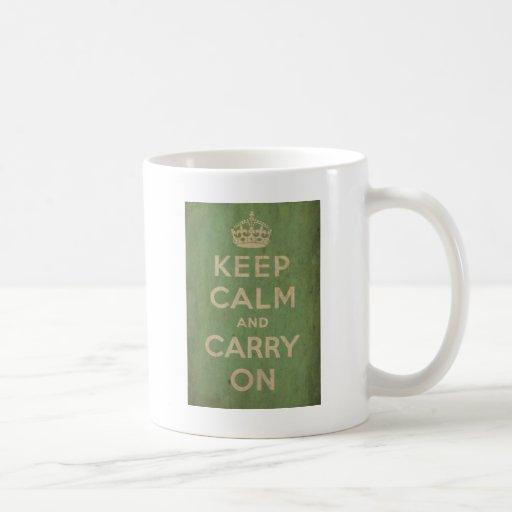 Vintage Keep Calm And Carry On Classic White Coffee Mug