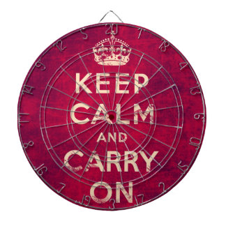 Vintage keep calm and carry on dart board