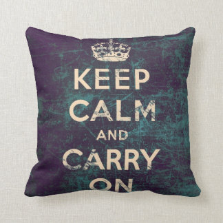 Vintage keep calm and carry on - Green Throw Pillow