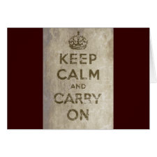 Vintage Keep Calm And Carry On Greeting Card