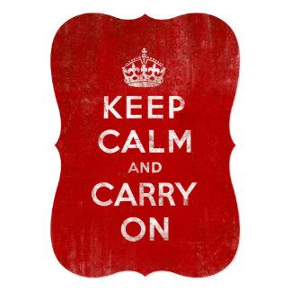 "Vintage Keep Calm and Carry On 5"" X 7"" Invitation Card"
