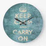 Vintage keep calm and carry on large clock