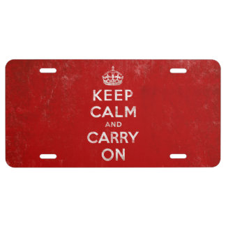 Vintage Keep Calm and Carry On License Plate