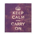 Vintage keep calm and carry on note pads