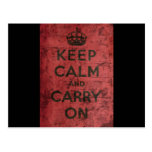 Vintage Keep Calm And Carry On Post Cards