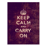 Vintage keep calm and carry on postcard
