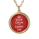 Vintage Keep Calm and Carry On Quote Pendant