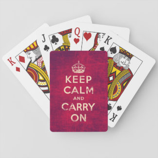 Vintage keep calm and carry on - red deck of cards