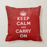 Vintage Keep Calm and Carry On Throw Pillow