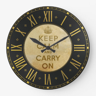 Vintage Keep Calm And Carry On Wall Clock