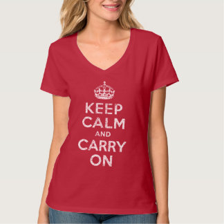 Vintage Keep Calm and Carry On Womens Soft T Shirt