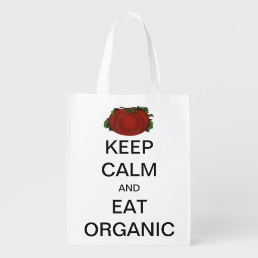 Vintage Keep Calm and Eat Organic Tomato Grocery Bags
