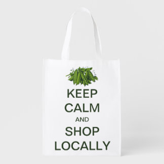 Vintage Keep Calm and Shop Locally Grocery Bag