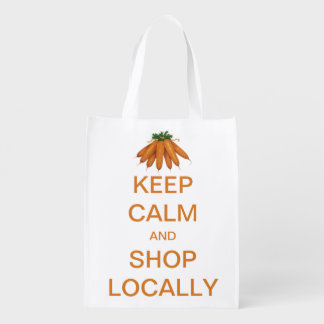 Vintage Keep Calm and Shop Locally Market Totes
