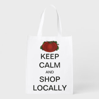 Vintage Keep Calm and Shop Locally Reusable Grocery Bags