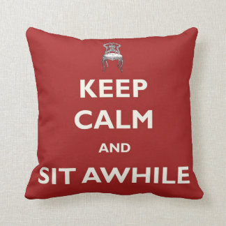 Vintage Keep Calm and Sit Awhile Red Pillow