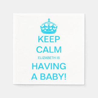 Vintage Keep Calm Blue Boy Baby Shower Paper Napkin