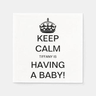 Vintage Keep Calm Gender Neutral Baby Shower Standard Cocktail Napkin