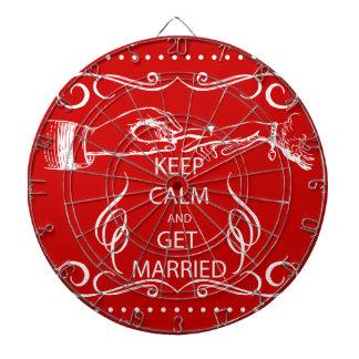 Vintage KEEP CALM  GET MARRIED Dartboard With Darts