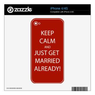 Vintage KEEP CALM  GET MARRIED iPhone 4 Decals