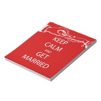 Vintage KEEP CALM  GET MARRIED Notepad