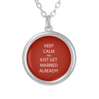Vintage KEEP CALM  GET MARRIED Silver Plated Necklace