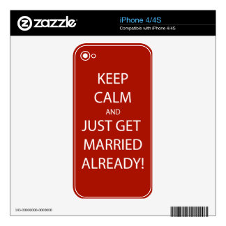 Vintage KEEP CALM  GET MARRIED Decal For The iPhone 4