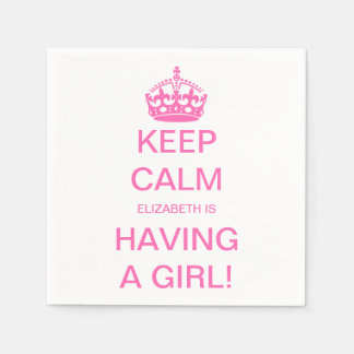 Vintage Keep Calm Pink Girl Baby Shower Party Napkin