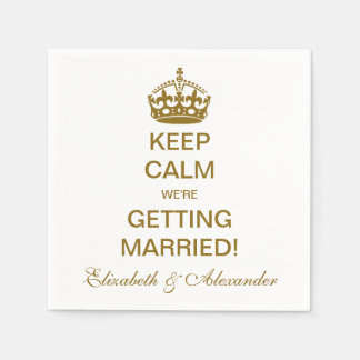 Vintage Keep Calm We're Getting Married! Gold Standard Cocktail Napkin