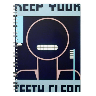 Vintage Keep Your Teeth Clean FAP Poster Note Books