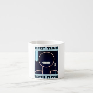 Vintage Keep Your Teeth Clean WPA Poster Espresso Cup