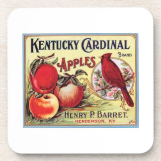 Vintage Kentucky Cardinal Apples, Henry P Barret,  Beverage Coaster