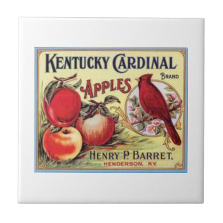 Vintage Kentucky Cardinal Apples, Henry P Barret,  Small Square Tile