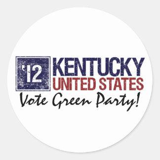 Vintage Kentucky del Partido Verde del voto en Pegatina Redonda